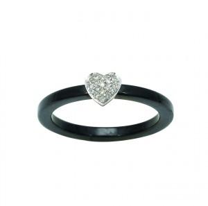 Bague céramique coeur diamants 0,06 carat Robbez-Masson - Or blanc 750/1000 - Taille 50
