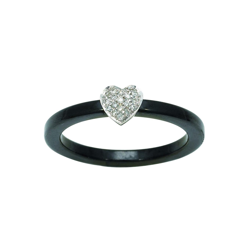 Bague céramique coeur diamants 0,06 carat Robbez-Masson – Or blanc 750/1000 – Taille 50