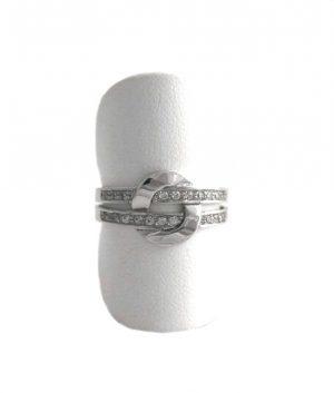 Bague double anneaux oxydes de zirconium - Or blanc 750/1000 - Taille 54
