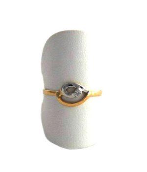 Bague bicolore oxyde de zirconium – Or 750/1000 – Taille 56