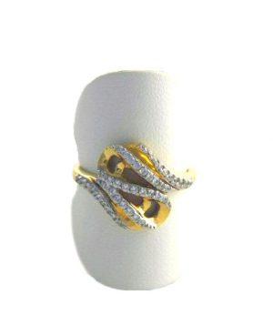 Bague scintillante aux oxydes de zirconium  - Or 750/1000 - Taille 56