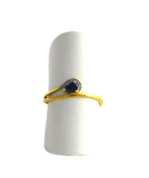 Bague saphir fin et effet diamanté - Or 750/1000 - Taille 48