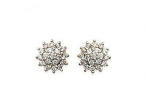Boucles d'oreilles fleurs diamantées d'oxyde de zirconium - Or 750/1000