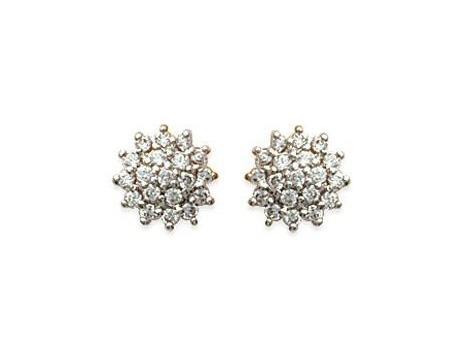 Boucles d'oreilles fleurs diamantées d'oxyde de zirconium – Or 750/1000