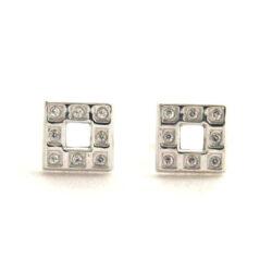 Puces carrées oxydes de zirconium – Or blanc 750/1000