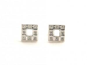 Puces carrées oxydes de zirconium - Or blanc 750/1000