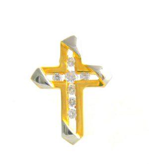 Croix latine bicolore empierrée d'oxydes de zirconium - Or 750/1000