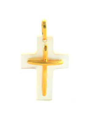 Croix latine en nacre blanc brillant et or jaune 750/1000