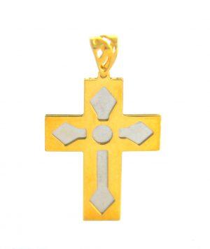 Croix latine bicolore plate - Or 750/1000
