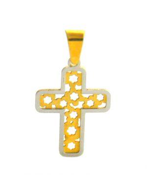 Croix latine bicolore ajourée - Or 750/1000