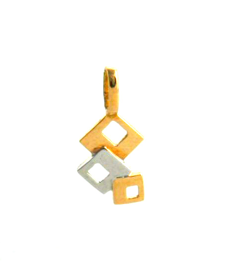 Pendentif bicolore carrés ajourés – Or 750/1000