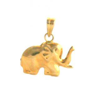Pendentif éléphant courbes arrondies – Or 750/1000