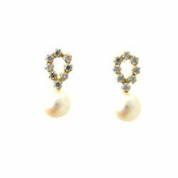 Boucles d'oreilles perles de culture d'eau douce et Oxydes de zirconium – Or 750/1000