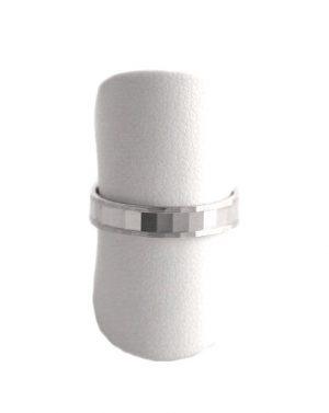Alliance GL mixte à facettes argent 925/1000 Rhodié - 4 mm - Taille 54