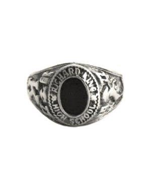Chevalière universitaire onyx ovale argent 925/1000 - Taille 56