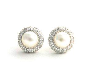 Boucles d'oreilles clip fausse demi-perle & oxydes de zirconium - Argent 925/1000