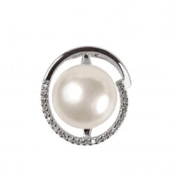 Pendentif Schmittgall perle d'eau douce & oxydes de zirconium – Argent 925/1000