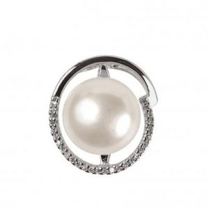 Pendentif Schmittgall perle d'eau douce & oxydes de zirconium - Argent 925/1000