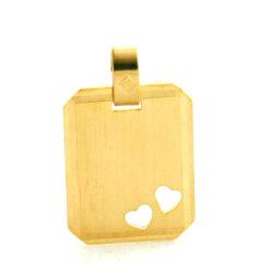 Plaque rectangle à graver aux 2 coeurs ajourés en plaqué or