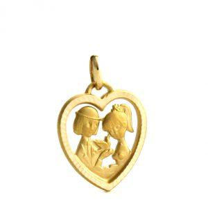 Coeur ajouré des amoureux de Peynet en plaqué or