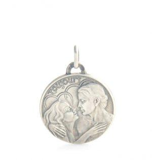 Médaille ronde couple pour toujours en argent