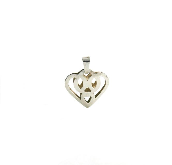 Pendentif coeur ajouré en 3D Argent 925/1000