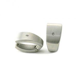 Boucles d'oreilles Acier et Diamants 0.01 carat