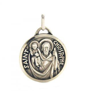 Saint Christophe - Médaille ronde en argent