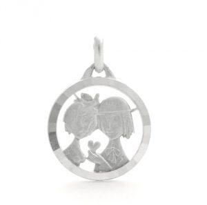 Médaille des amoureux de Peynet et la colombe en argent