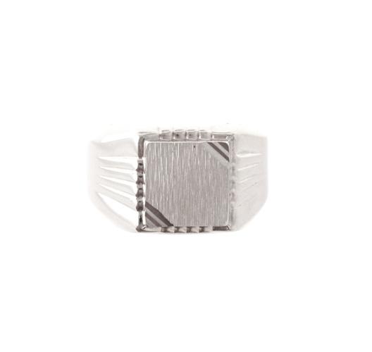 Chevalière carrée rainurée en Argent 925/1000 – Taille 60