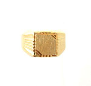 Chevalière carrée rainurée en plaqué or - Taille 64