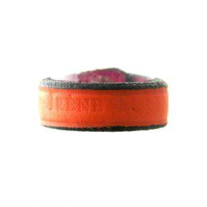 Bague Irène T rose ou orange en cuir - Taille du 52 au 56