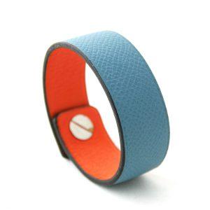 Bracelet large en cuir bleu - Irène T