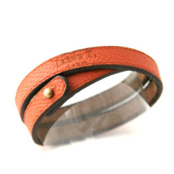 Bracelet en cuir 2 tours orange – Irène T