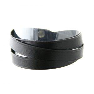 Bracelet en cuir fin noir 3 tours - Irène T