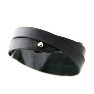 Bracelet en cuir fin noir 3 tours – Irène T
