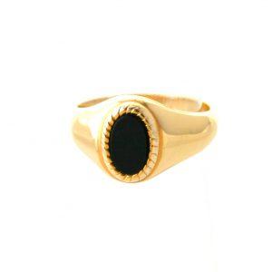 Chevalière ovale onyx en plaqué or  - Taille 66