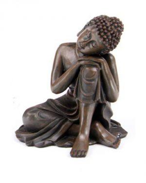 Statuette de bouddha Thaï assis avec tête inclinée sur le genou Aspect bois
