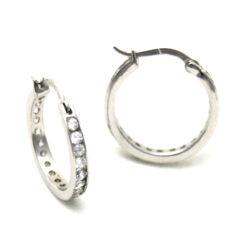 Créoles serties zirconiums Argent 925/1000 – Boucles d'oreilles rondes 20 mm