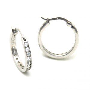 Créoles serties zirconiums en argent - Boucles d'oreilles rondes 20 mm