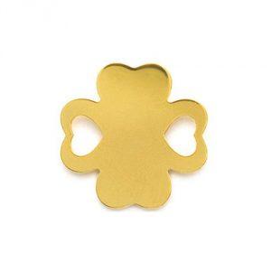 Trèfle 18 mm ajouré coeur en plaqué or
