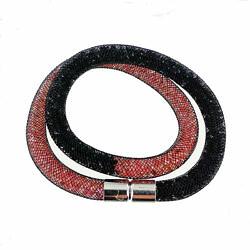 bracelet résille double tour rouge